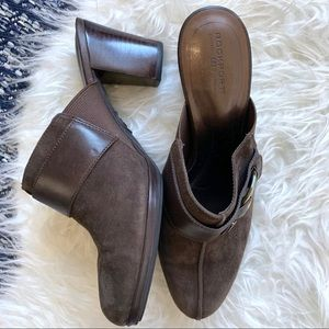 Rockport suede brown mule slip on shoes brass